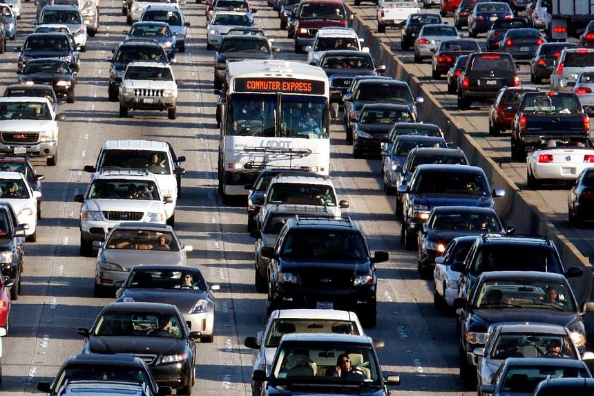 A file photo of vehicles on the 405 freeway during rush hour in Los Angeles, on California, Oct 3, 2007.