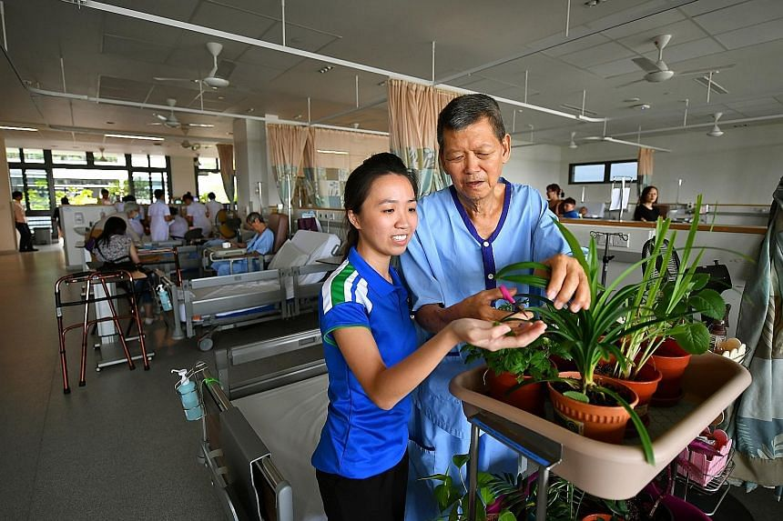 Occupational therapist Giang Thuy Anh, 28, with a patient during mobile horticulture therapy in Yishun Community Hospital's acute geriatric ward. The programme, which takes plants to the patients' bedside, was started last year to improve their level