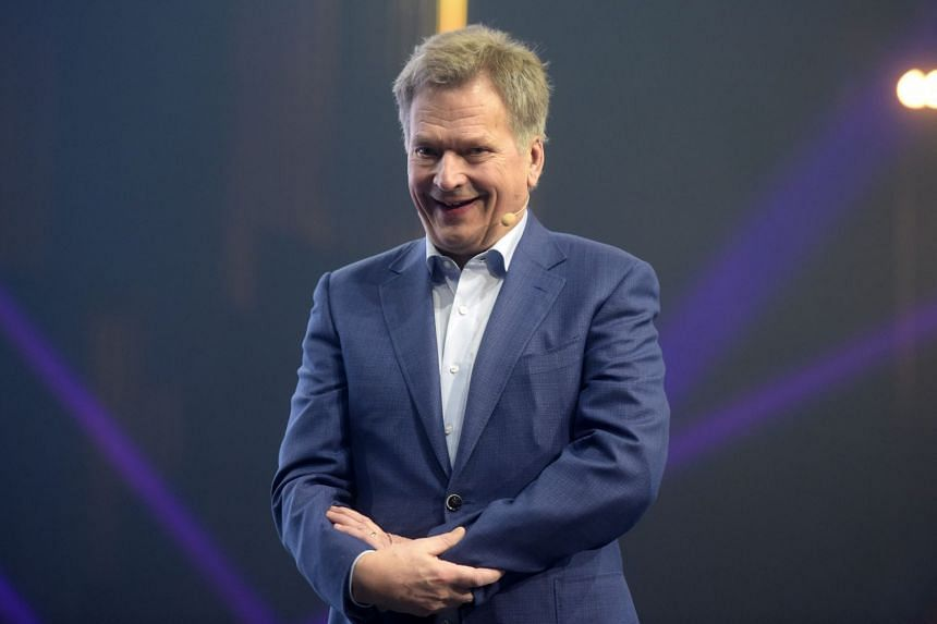 Finnish President Sauli Niinisto speaking at a start-up and technology event in Helsinki on Nov 30, 2017.