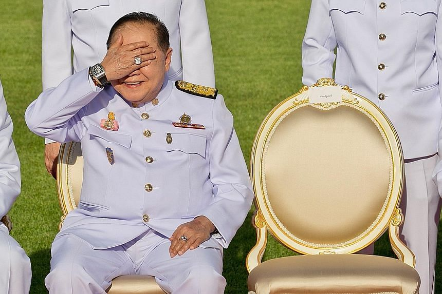 Thailand's Deputy Prime Minister Prawit Wongsuwan sporting what looked like a diamond ring and a Richard Mille watch costing over $100,000 in a photo taken last December.