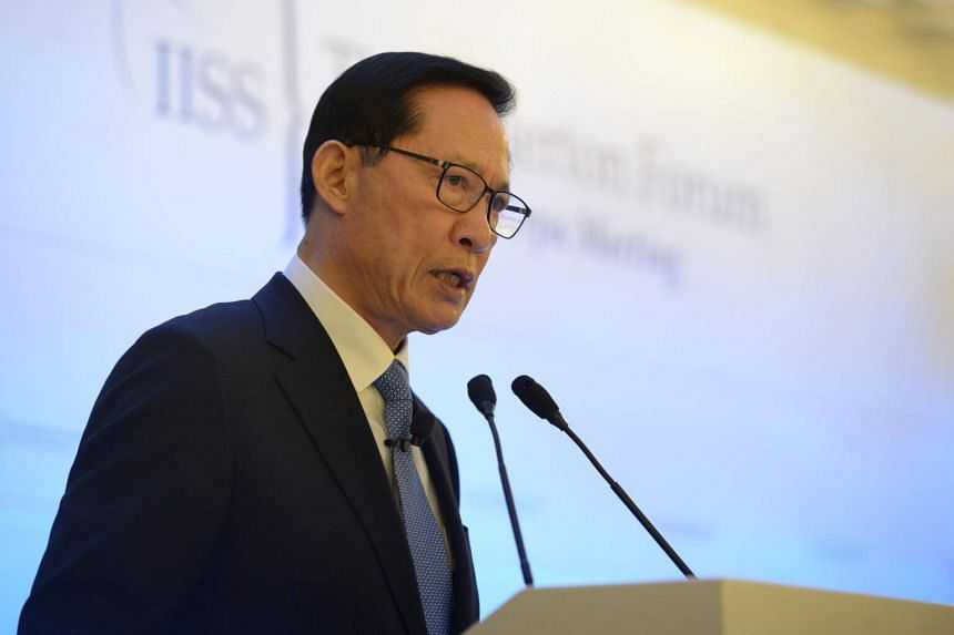 South Korean defence minister Song Young Moo speaking at the International Institute for Strategic Studies Fullerton Forum in Singapore on Jan 29, 2018.