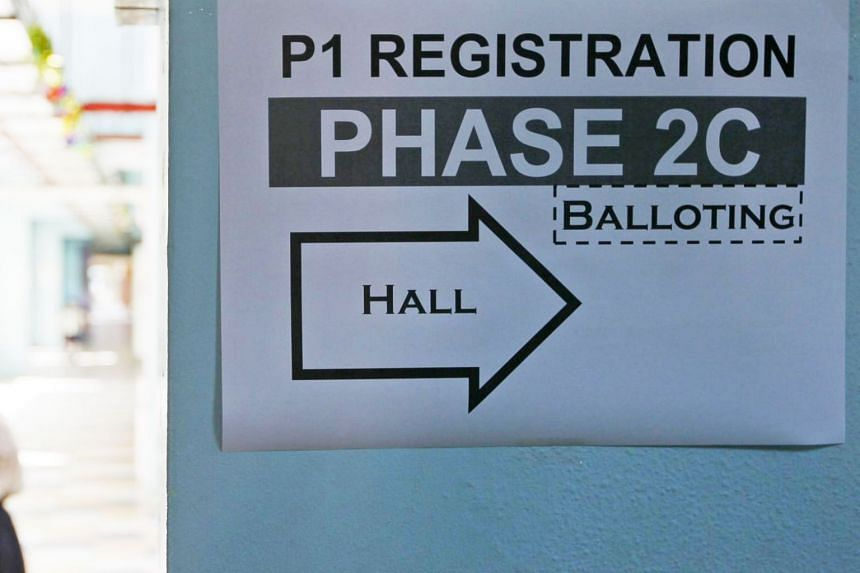 A sign directing parents to the primary one registration phase 2C at a school on Aug 6, 2013.