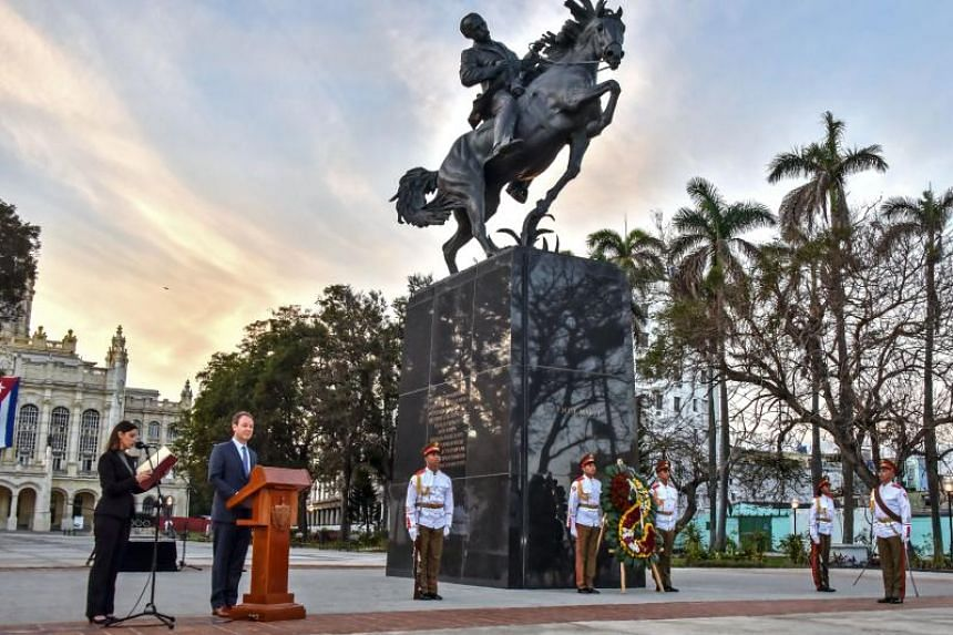 The Bronx Museum Board Chair Joseph Mizzi gives a speech during the inauguration of Cuban National Hero Jose Marti sculpture on its 165th anniversary, in Havana, on Jan 28, 2018.