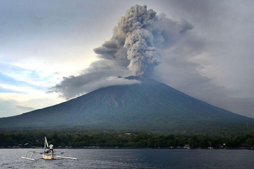 Mount Agung erupting on Nov 28, as seen from Kubu sub-district in the Karangasem Regency in Bali, Indonesia.