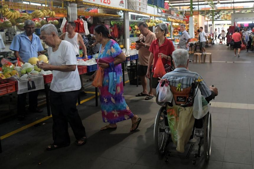 Senior citizens at the newly opened Bukit Merah View Market and Food Centre on Jan 2, 2018.