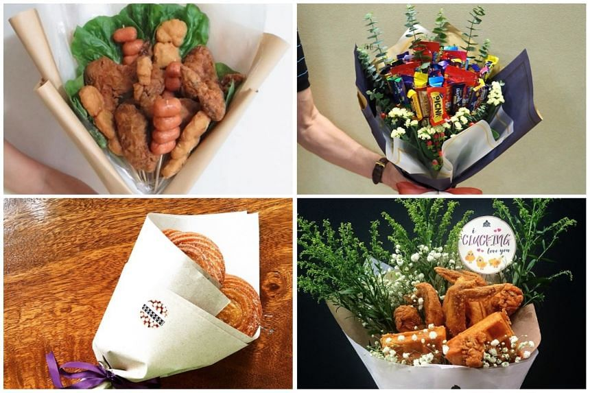 (Clockwise from top left) Online florist PetalFoo's customised edible bouquet, Golden Tulips Atelier's customisable candy and chocolate bouquet, The Beast's Chicken and Waffles bouquet, and Churros Factory Singapore's bouquet of churros.