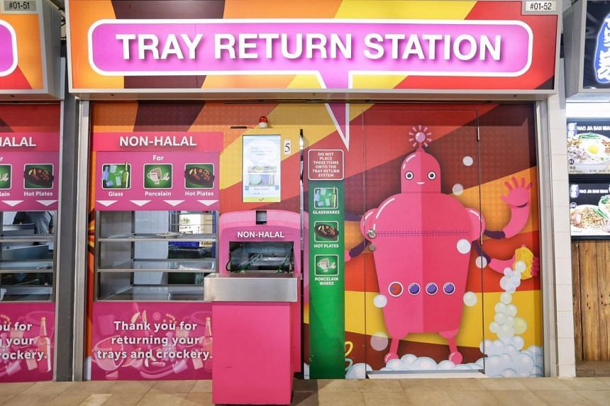 A tray return station at Marsiling Mall Hawker Centre, on Jan 29, 2018.