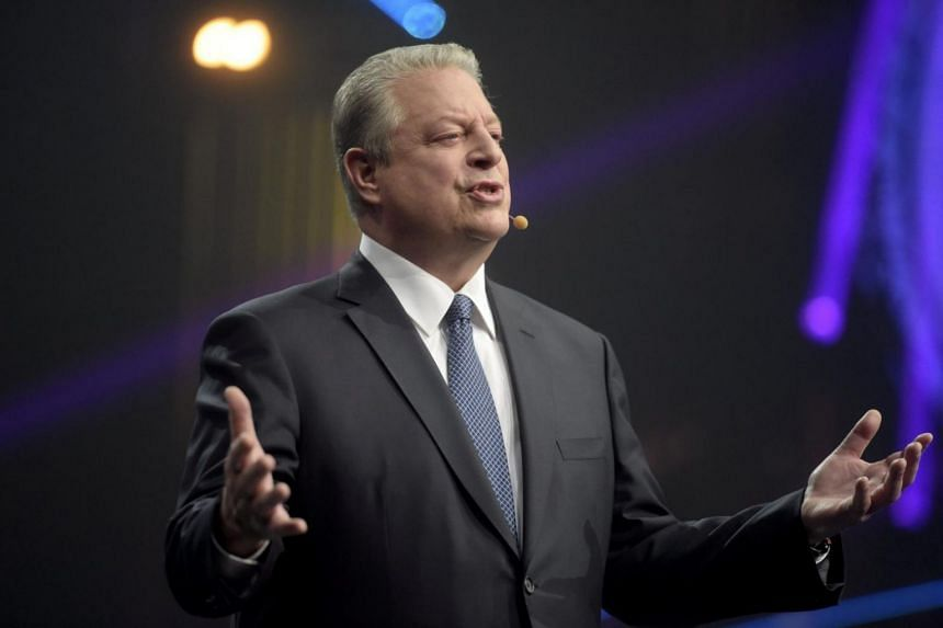 Former Vice President of the US Al Gore speaks during a startup and technology event in Helsinki, Finland, on Nov 30, 2017.