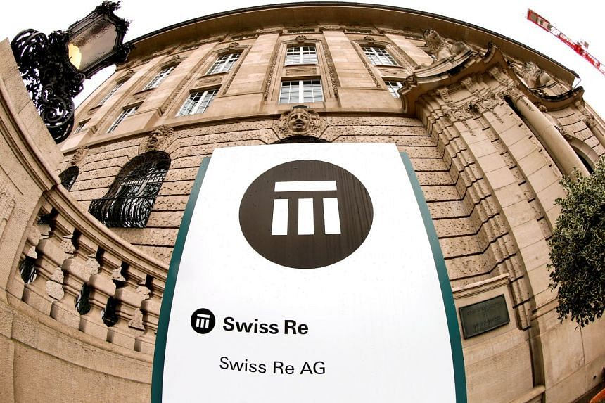 The logo of Swiss insurer Swiss Re is seen in front of its headquarters in Zurich, Switzerland, on Sept 23, 2015.