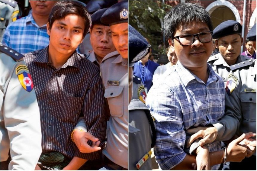 Wa Lone, 31, and Kyaw Soe Oo (left), 27, had worked on Reuters coverage of a crisis in Rakhine state.
