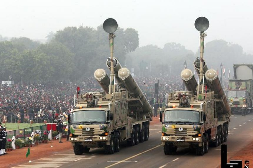 BrahMos weapons systems are displayed during India's 69th Republic Day celebrations in New Delhi on Jan 26.
