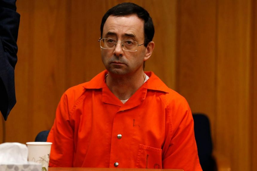Former Michigan State University and USA Gymnastics doctor Larry Nassar listens during the sentencing phase in Eaton, County Circuit Court on Jan 31, 2018.