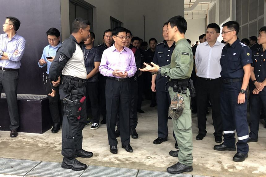Finance Minister Heng Swee Keat visiting the Home Team Tactical Centre on Feb 2, 2018.
