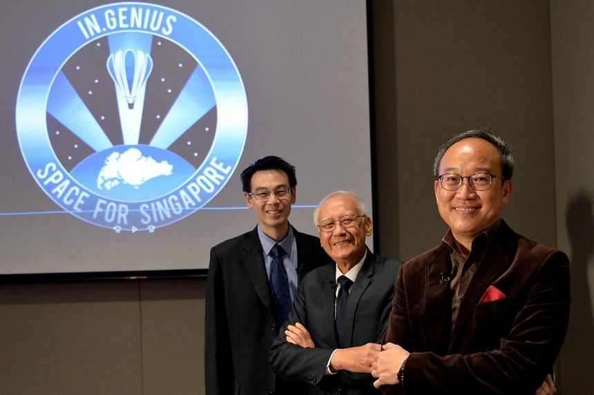 (From left) Singapore Space and Technology Association chairman Jonathan Hung, National Research Foundation adviser Lui Pao Chen and In.Genius founder Lim Seng at the announcement by In.Genius on the next phase in the mission to put the first Singapo