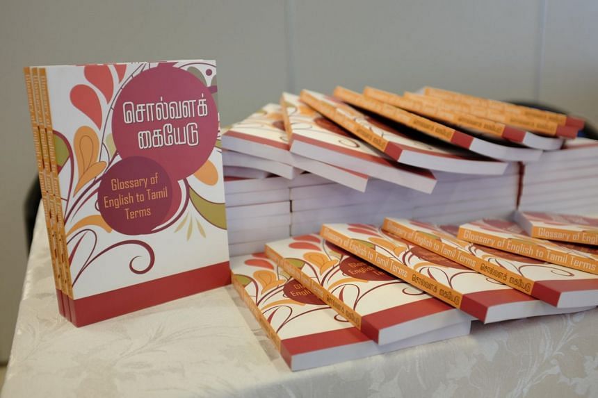 Copies of the English-Tamil Glossary that were launched on Feb 3, 2018, at the Indian Heritage Centre.