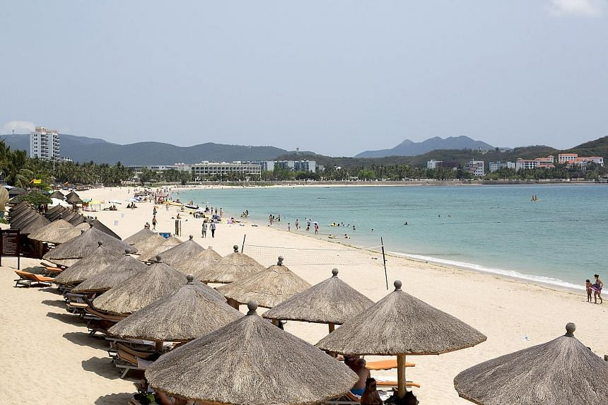 A beach in Sanya on Hainan island, which is often referred to as China's Hawaii for its beautiful beaches.