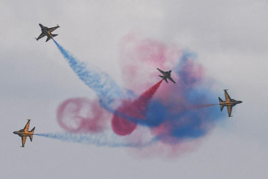 The Black Eagles from the Republic of Korea Air Force perform an aerial display during a media preview of the Singapore Airshow on Feb 4, 2018.