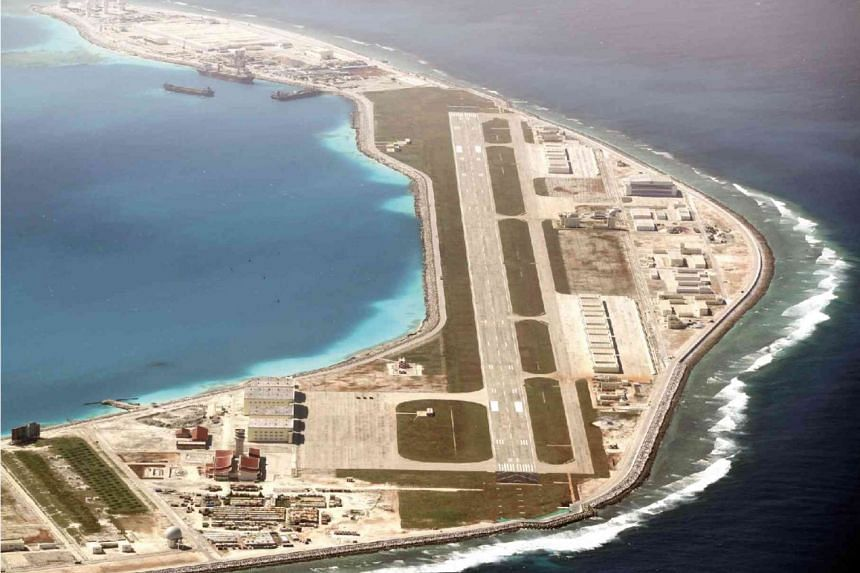 A close-up shot of the runway on Panganiban Reef (Mischief) shows it's ready for use by the Chinese Air Force. Two other runways have also been built on Kagitingan Reef (Fiery Cross) and Zamora Reef (Subi) in the disputed sea.