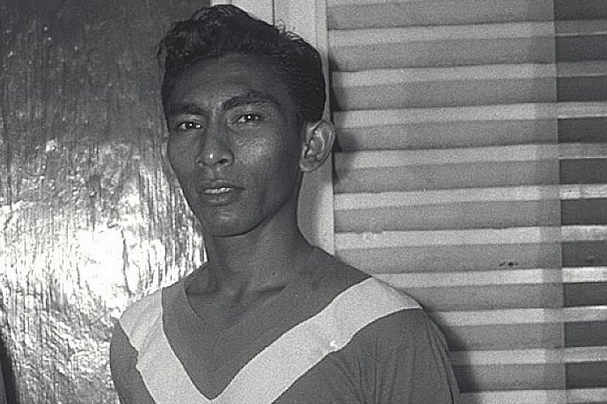 Above: A young Majid Ariff lining up for the Singapore team in the Malaya Cup in the 1960s. Left: Majid was known for grooming players, including Fandi Ahmad. He continued to coach until his late 70s.