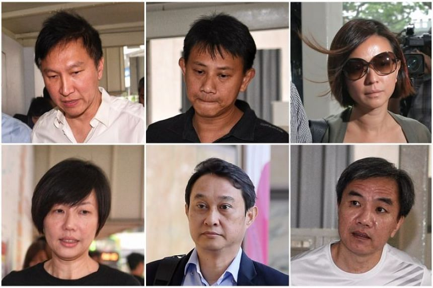 (Clockwise, from top left) City Harvest church founder Kong Hee, and former church leaders Tan Ye Peng, Serina Wee, John Lam, Chew Eng Han and Sharon Tan.