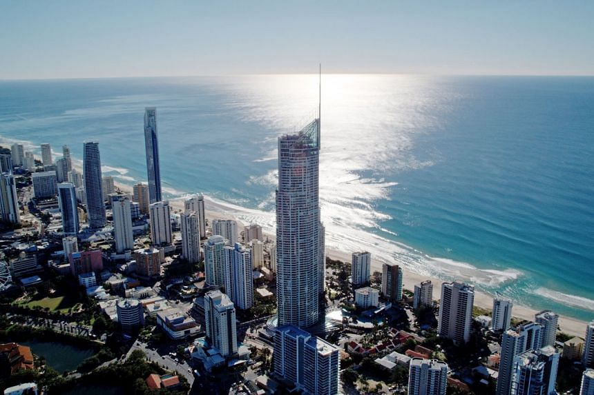 Aerial view of Surfers Paradise, a popular beach front spot with views of the coast and urban high-rise skyline. PHOTO: TOURISM AND EVENTS QUEENSLAND