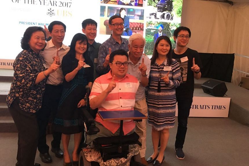 Past and present nominees for Singaporean of the Year, including Dr Goh Wei Leong, cartoonist Sonny Liew and para-athlete Jason Chee, with some family members at the ceremony on Feb 6, 2018.