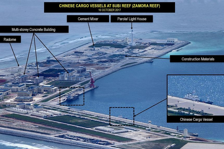 A picture showing alleged Chinese military construction work going on at Subi Reef (also known as Zamora Reef), on Oct 10, 2017.