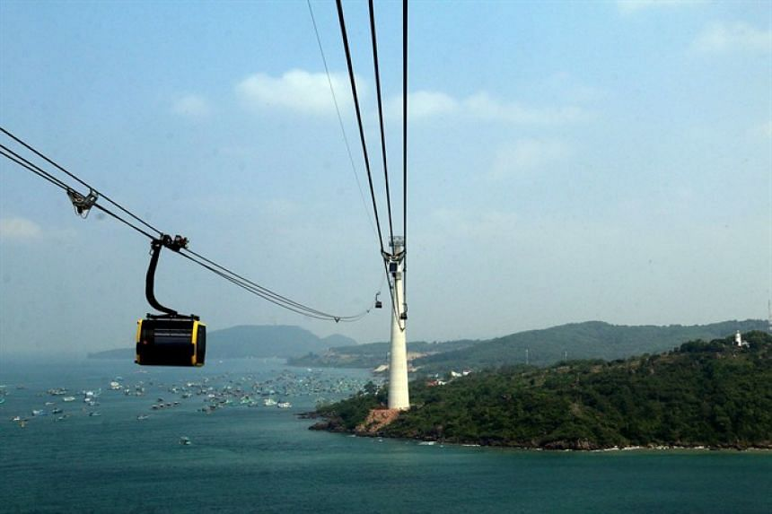 The cable car connects An Thoi town and Hon Thom Island in Vietnam's Kien Giang province, and allows passengers to travel the 7.9km route in 15 minutes.
