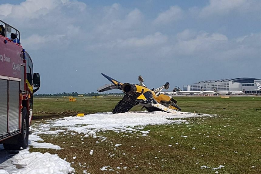 The aircraft had crashed into the grass verge at the side of  Runway 1 before catching fire.