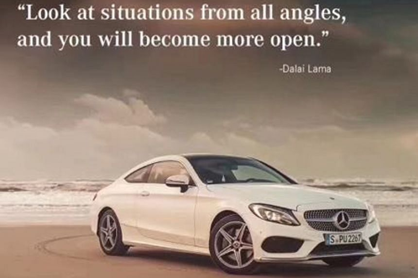 "In a ""MondayMotivation"" hashtagged post on Instagram, Mercedes-Benz showed one of its white cars on a beach along with a quote attributed to the Dalai Lama."