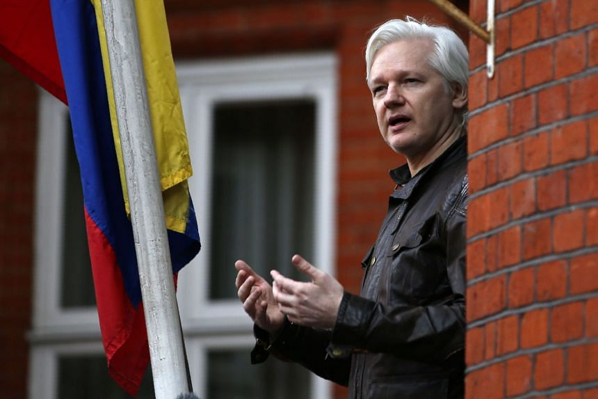 Wikileaks founder Julian Assange speaking from the balcony of the Embassy of Ecuador in London, on May 19, 2017.