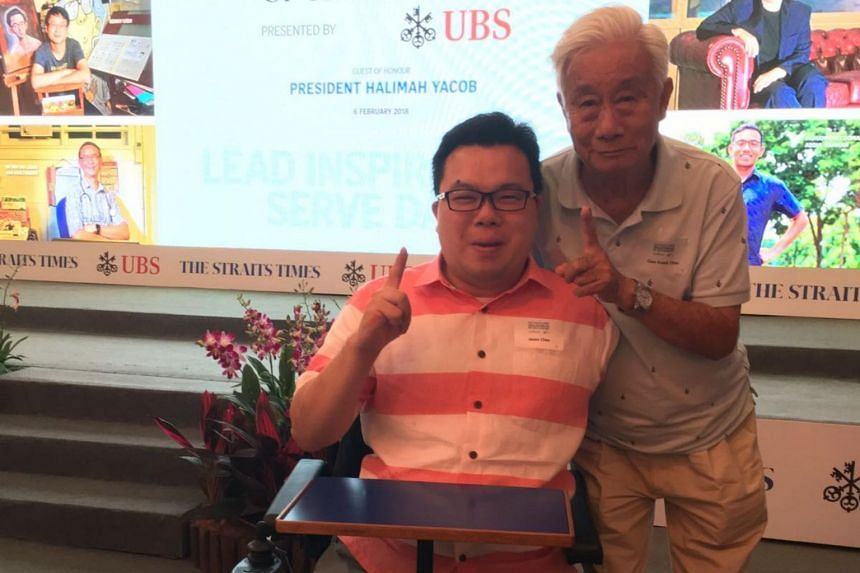 Singaporean of the Year nominee Jason Chee and his father at the ceremony, on Feb 6, 2018.