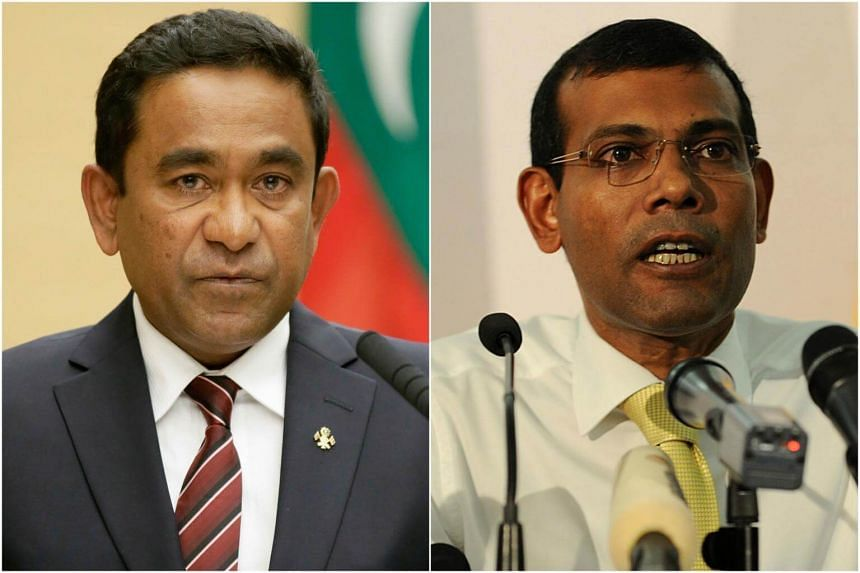 Maldives President Abdulla Yameen (left) and former president Mohamed Nasheed.