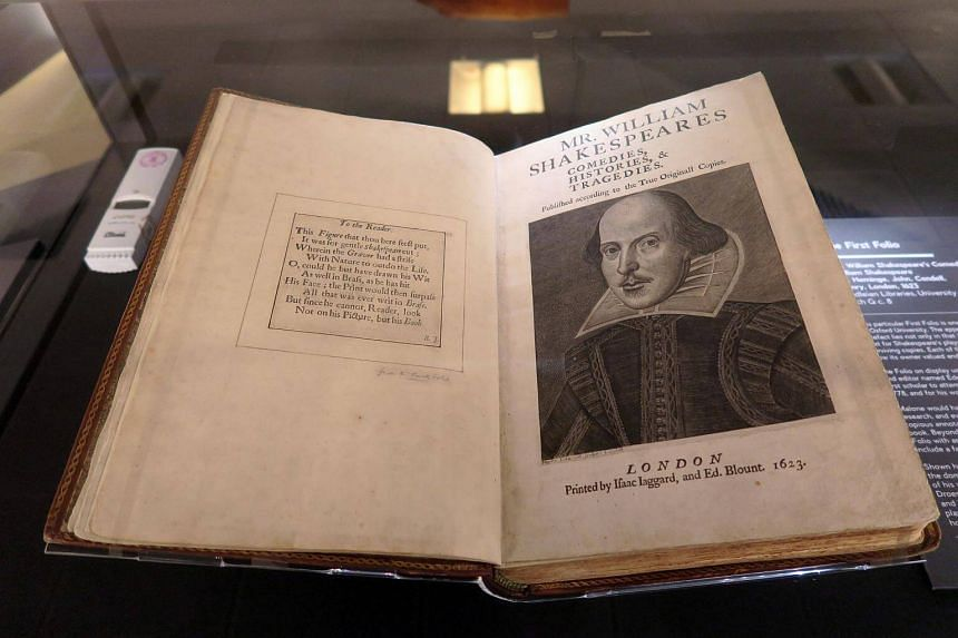 A priceless, nearly 400-year-old first edition of William Shakespeare's plays, on display at the 2017 exhibition, Shakespeare In Print: The First Folio at the National Library Building.