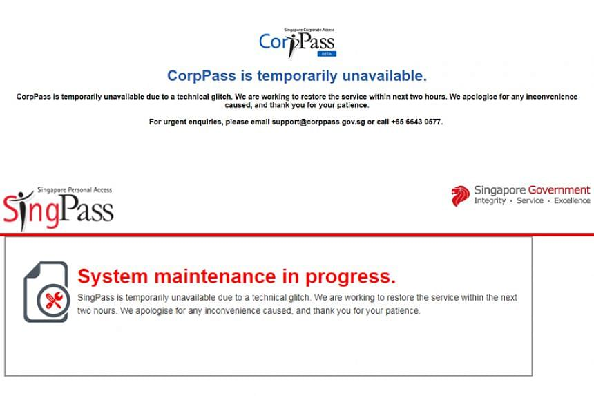 The Straits Times understands that for more than three hours, logging into SingPass and CorpPass accounts for some users was slow or not possible.