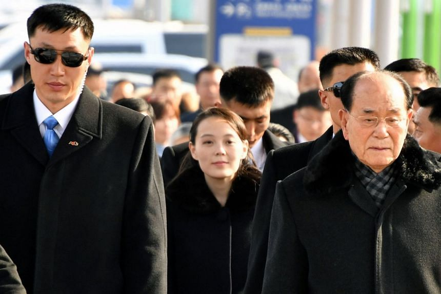 A North Korean delegation led by North Korean leader Kim Jong Un's younger sister Kim Yo Jong and president of the Presidium of the Supreme People's Assembly Kim Yong Nam leave Incheon International Airport to attend the Pyeongchang Winter Olympic Ga