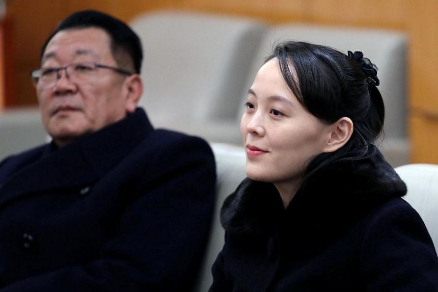 North Korean leader Kim Jong Un's younger sister Kim Yo Jong sits in a meeting room in Incheon, South Korea on Feb 9, 2018.