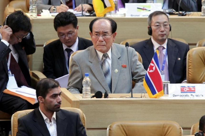 Kim Yong Nam (centre), president of the Presidium of North Korea's Supreme People's Assembly, during the summit session of the Non-Aligned Movement in Tehran, Iran, on Aug 30, 2012.