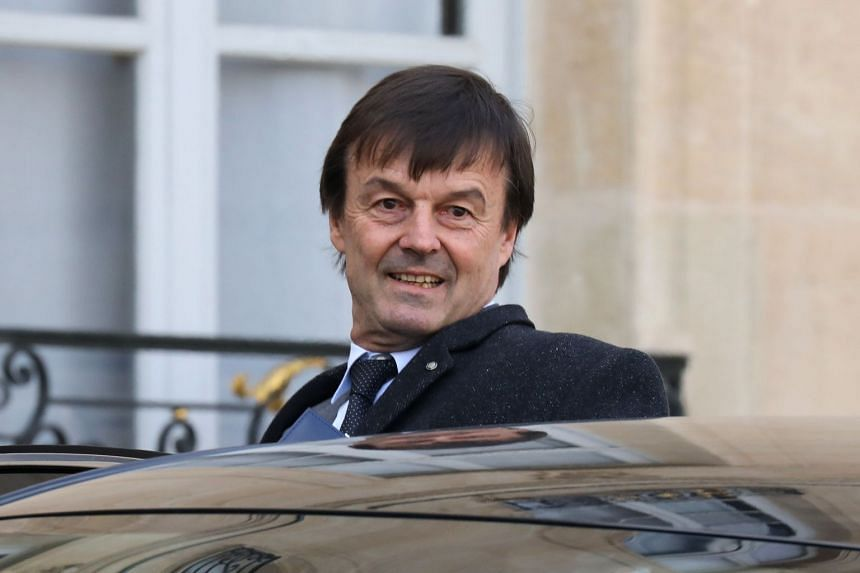 Hulot leaves the Elysee palace following the weekly Cabinet meeting on Feb 8, 2018 in Paris.