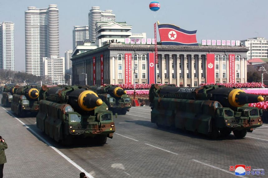 Intercontinental ballistic missiles are seen at a grand military parade celebrating the 70th founding anniversary of the Korean People's Army at the Kim Il Sung Square in Pyongyang on Feb 9, 2018.
