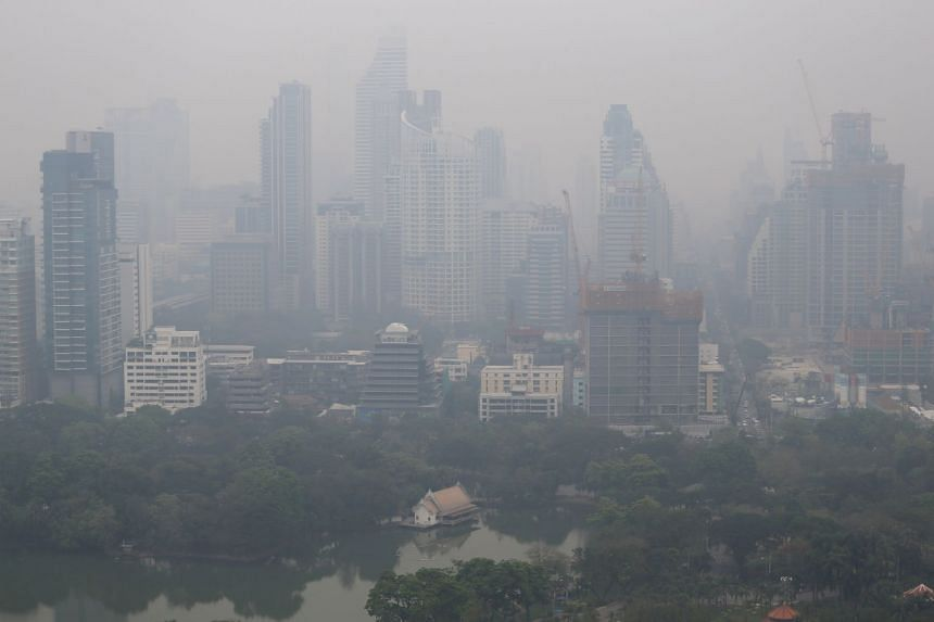 The skyline is seen through the polluted air in Bangkok, Thailand, on Feb 8, 2018.