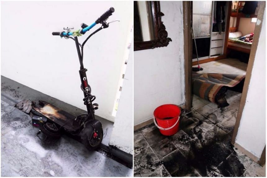 An e-scooter that was left charging overnight in the bedroom of a flat in Yishun caught fire on Nov 7, 2017. Forty electric scooters caught fire in 2017, said an SCDF spokesman, adding that battery fires were the cause.
