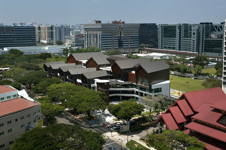 An aerial view of Singapore's first-ever cultural heritage integrated hub, Wisma Geylang Serai (centre), which will be completed in May 2018.