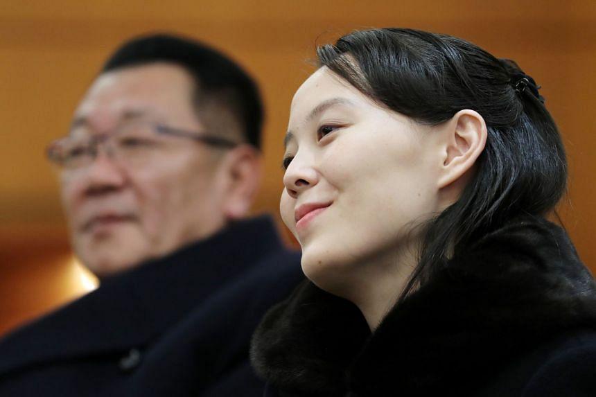 North Korea's leader Kim Jong Un's younger sister Kim Yo Jong meets South Korean officials in Incheon, South Korea, on Feb 9, 2018.