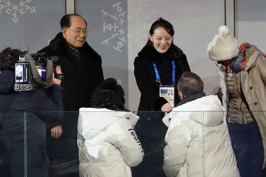 South Korean President Moon Jae In (left) shakes hands with North Korean leader Kim Jong-un's sister, Yo Jong, during the opening ceremony of the PyeongChang 2018 Olympic Games, South Korea on Feb 9, 2018.