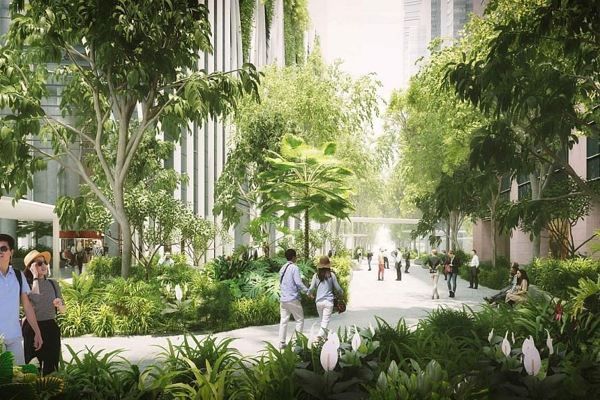 """An artist's impression of the 12,500 sq ft public park. It is among a slew of moves aimed at making the area greener and a """"vibrant people-friendly zone"""", said National Development Minister Lawrence Wong."""