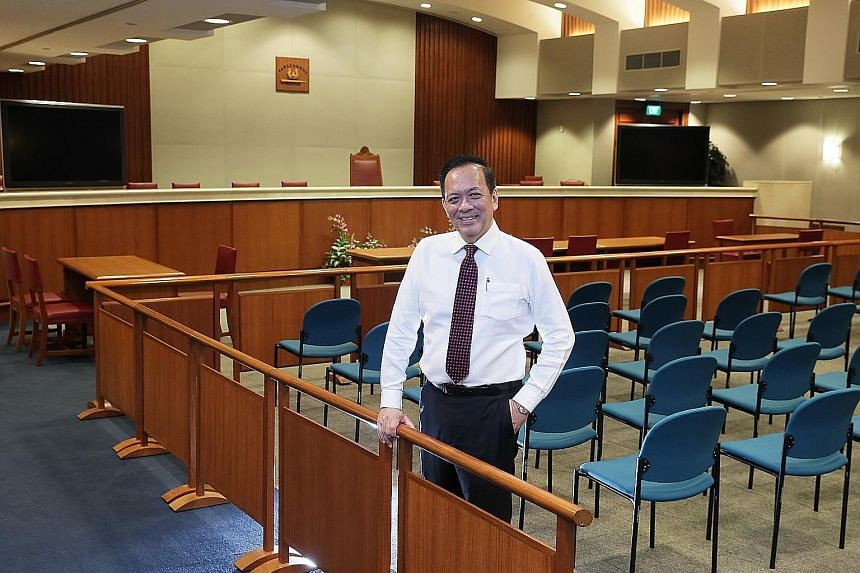 Deputy Speaker Charles Chong at the new public hearing room in Parliament House where the Select Committee he chairs will be hearing views on fake news. Previous public hearings were held in a smaller room in the Old Parliament House.