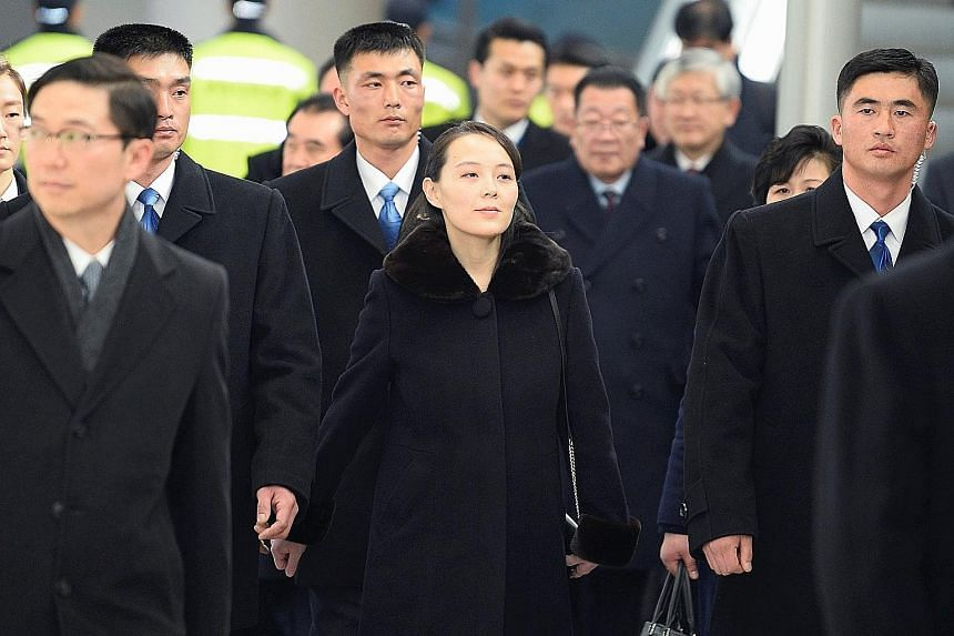 North Korean leader Kim Jong Un's sister, Ms Kim Yo Jong, and her delegation arriving at Incheon Airport yesterday. They were met by government officials, including Unification Minister Cho Myong Gyon. She is the first member of the North's Kim famil
