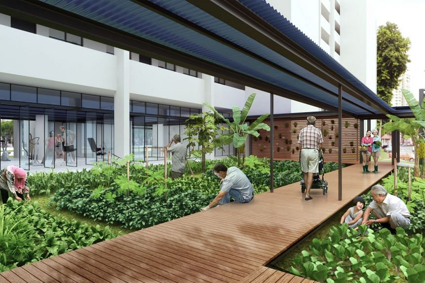 """The """"community pocket"""" at Block 433, Ang Mo Kio Avenue 10 is designed for seniors to mingle with their neighbours and pursue their interests."""
