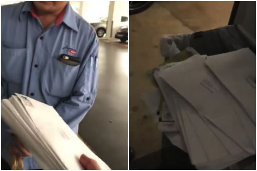 The postman was confronted in a video that has since gone viral.